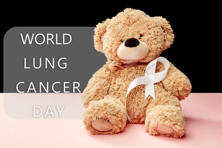 The white ribbon, a symbol of the international or world day of fight against lung cancer. The cancer, health, breast, awareness, campaign, disease, help, care, support, hope, illness, survivor and healthcare concept Stock Photo - 116286044