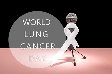 The white ribbon, a symbol of the international or world day of fight against lung cancer. The cancer, health, breast, awareness, campaign, disease, help, care, support, hope, illness, survivor and healthcare concept