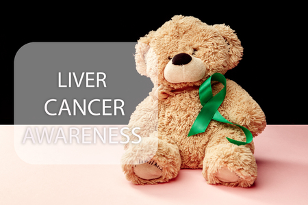 Liver Cancer and Hepatitis B - HVB Awareness month ribbon, Emerald Green or Jade ribbon awareness color on pink background with toy bear. The cancer, health, help, care, support, hope, illness, survivor, healthcare concept Stock Photo
