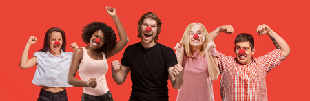 The collage of faces of surprised people at red nose day. The clown, fun, party, celebration, funny, joy, holiday, humor concept. Human emotions, facial expression concept. collage of men and women