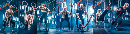 Collage about man with battle rope and woman in the fitness gym. The gym, sport, rope, training, athlete, workout, exercises concept Фото со стока - 116545261