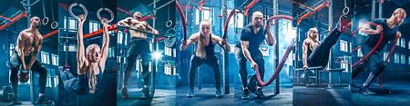 Collage sobre hombre con cuerda de batalla y mujer en el gimnasio. El gimnasio, deporte, cuerda, formación, atleta, entrenamiento, concepto de ejercicios