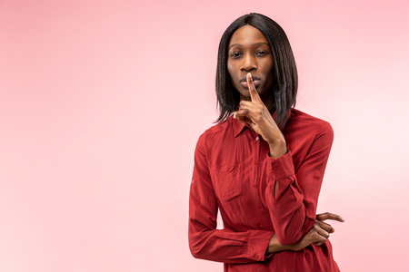Remember all. Let me think. Doubt concept. Doubtful, thoughtful woman remembering something. Young emotional woman. Human emotions, facial expression concept. Studio. Isolated on trendy pink Stock fotó