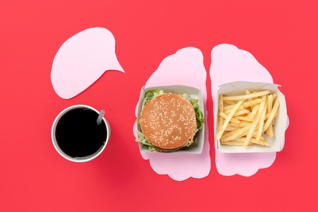 I love fast food. Burger and french fries in the form of brain isolated on red background. Unhealthy nutrition concept. Conceptual composition with copyspace