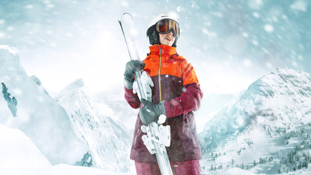 Female skier standing with skies in one hand on background of beautiful mountain landscape. Winter, ski, snow, vacation, sport, leisure, lifestyle concept