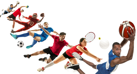 Attack. Sport collage about soccer, american football, basketball, volleyball, tennis, rugby, handball players with balls isolated on white background with copy space