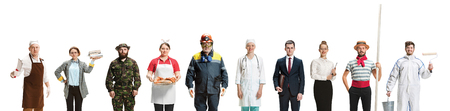 Collage of different professions. Group of men and women in uniform standing at studio isolated on white background. Full length photos of people with different occupations. Buisiness, professional concept