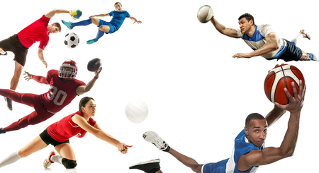Attack. Sport collage about soccer, american football, basketball, volleyball, rugby, handball players with balls isolated on white background with copy space