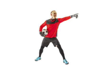 One male soccer player goalkeeper pointing away and screaming isolated on white background. Appeal to the referee, order to defenders and human emotions concept