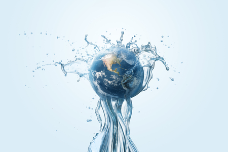 Water besparen en wereld milieubescherming concept. Aarde, globe, ecologie, natuur, planeetconcepten Stockfoto
