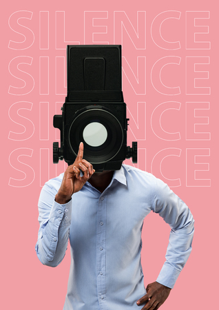 Quiet. Shooting. Studio portrait of young man covering his mouth - speak no evil concept. Contemporary modern art collage