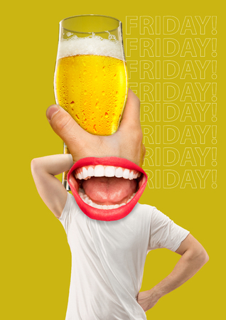Friday, weekend, rest. Contemporary modern art collage about beer Stock Photo
