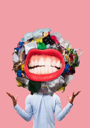Concept of knowledge. Unnecessary information. Contemporary modern art collage. rubbish in the head concepts Stock fotó