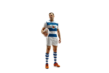 The silhouette of one caucasian rugby man player isolated on white background. Studio shot of fit man in motion or movement with ball. Jump and action concept. an incredible strain of all forces Фото со стока