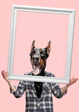 Contemporary art collage or portrait of surprised dog headed man. Modern style pop zine culture concept. Stock Photo