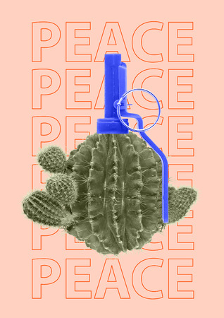 Green cactus and grenade weapons as a symbol or concept of peace. Contemporary art collage.