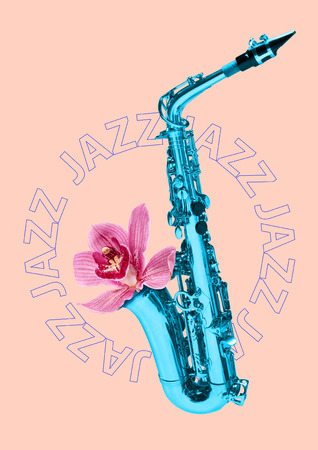 Blue saxophone on pink background. Contemporary art collage. good taste in music