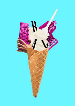 A copywriting concept. Ice cream cone filled with letters, typewriter and hand holding keyboard. Blue background. Modern design. Contemporary art collage.