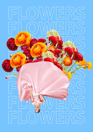 Elegant woman as wrap filled with flowers, Unusual bouquet or gift concept. Text on the blue background. Modern design. Contemporary art collage.