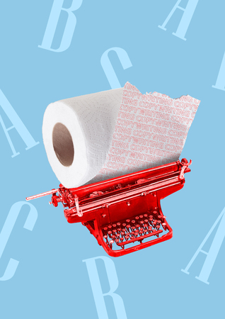 A copywriting concept. Red typewriter with toilet roll instead of paper and letters on the blue background. Modern design. Contemporary art collage.
