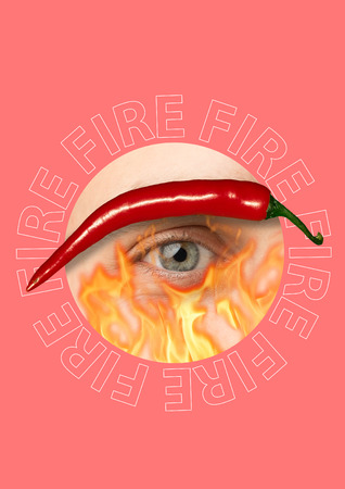 Spicy and hot look. Male blue eye surrounded with flames of fire and chilli red pepper. Rounded in centre of trendy coral background. Modern design. Human nature concept. Contemporary pop-art collage.