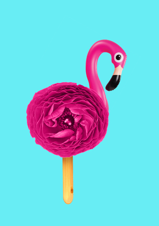Ice creamy flamingo. Bird with bright pink flower body and legs as wooden stick against blue sky-colored background. Negative space to insert your text. Modern design. Contemporary art collage.