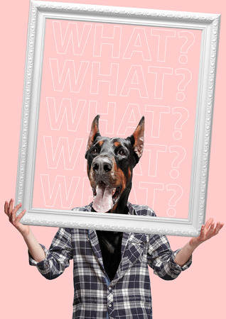 Go beyond. Contemporary art collage or portrait of surprised dog headed man in shirt holding white frame. Modern style pop zine culture concept. Stock Photo