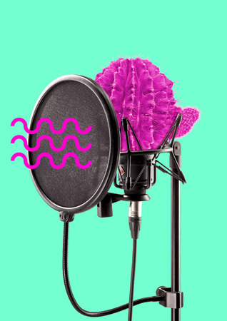 Speak louder and differently, dont be scared to talk spiny. Pink cactus as a soundstudios professional microphone with waves of voice. Alternative microphone. Modern design. Contemporary art collage. Stock Photo