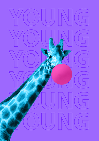 Get high by being young. Repeat yourself you are modernity every day. Curious blue giraffe in moon light makes a bubble of pink gum on the purple background. Modern design. Contemporary art collage. Фото со стока