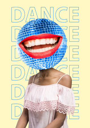 Disco head - round-the-clock music. Dance mood. Girl in light pink dress with discoball and ideal hollywood smile against yellow banana-colored background. Modern design. Contemporary art collage. Stockfoto