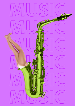 Immersion in sound with your head. Bad ear for jazz. The fit girls legs from the yellow-green saxophone tube against purple background. Music concept. Modern design. Contemporary art collage. Stockfoto