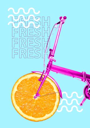 Entrega de vitaminas. Obtén tu dosis de colores jugosos y frescura. Bicicleta con naranja como rueda y base rosa sobre fondo azul. Concepto de comida sana. Diseño moderno. Collage de arte contemporáneo.