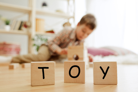 Wooden cubes with word TOY in hands of happy smiling little boy at home. Conceptual image about child rights, education, childhood and social problems.