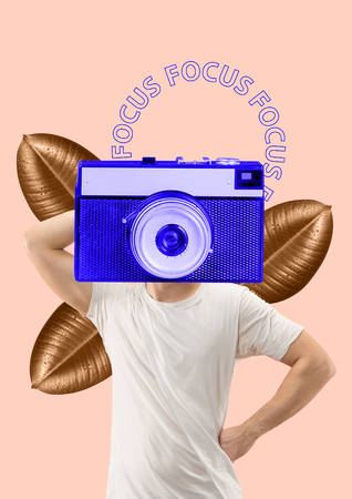 The coolest photographer takes photo by his eyes. Focus on the main things. A man in white T-shirt headed by vintage blue camera a front of golden leaves. Modern design. Contemporary art collage.