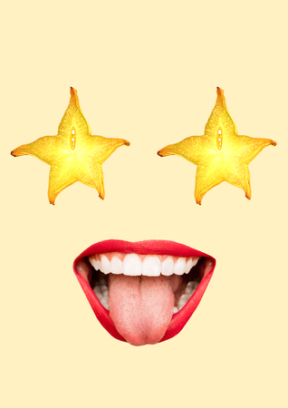 Pop-music superstar. Juicy view like a ripe carambola. Happy womans face with fruit shaped eyes and big smiling mouth, ideal white teeth. Modern design. Contemporary art collage. Healthy food concept. Zdjęcie Seryjne - 119757928