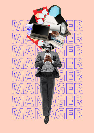 Manager is multifunctional. Man in a grey suit with coffee headed by laptop, books, clock, tablet or office tools. Business, financial and start-up concept. Modern design. Contemporary art collage.