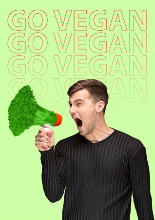 Veganism shouts out louder than plastic world. Young man screaming into the shout formed green juicy broccoli against light background. Modern design. Healthy food concept. Contemporary art collage. Imagens