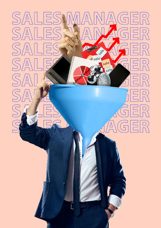 Sales manager knows the price of time. A funnel headed man in suit with laptop, smartphone, notebook, clock and robots hand against light background. Modern design. Contemporary art collage.