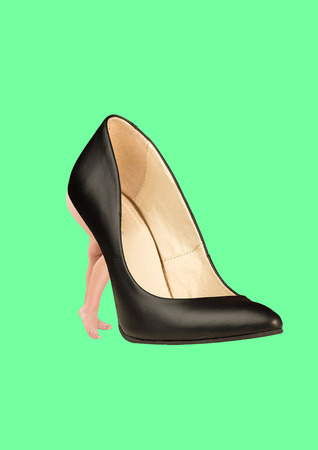 An alternative shoes. Choose whats more comfortable. A black leather shoe for women with fit female legs as a heel against mint background. Modern design. Fashion concept. Contemporary art collage. Stock Photo