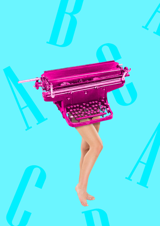 Copywriter has keyboard as a head and body. Typing with her brain. Female fit legs headed by pink retro typewriter on blue background. Business concept. Modern design. Contemporary art collage. Stock Photo - 119757968