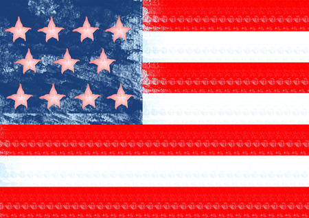 An alternative view of american national symbol. A flag of United States of America with the pink carambola on jeans background with red and white strips. Modern design. Contemporary art collage. Stock Photo