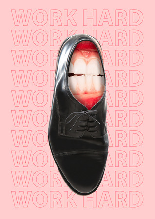 Work hard or uncomfortable things. Black male business shoes with white scratching teeth inside it against light pink background. Diligence concept. Modern design. Contemporary art collage.