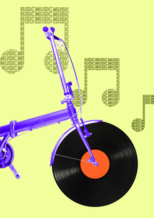 A musicial motion. An alternative view of summer transport. A purple bike with vynil record as a wheel. Travel in retro or oldschool music is starting here. Modern design. Contemporary art collage. Stock Photo