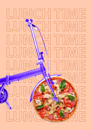 Its time for lunch. A purple bike with the wheel as a pizza with salami, tomato, cheese, mushrooms, juicy chicken fillet. Hurry up for a break. Food concept. Modern design. Contemporary art collage.