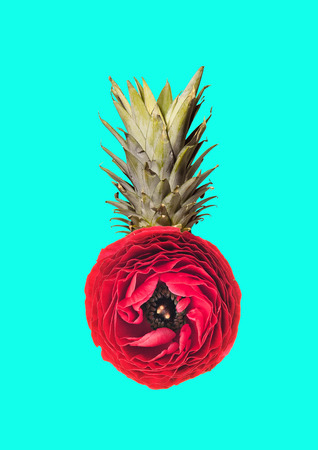 An alternative pineapple. Heart of exotic nature. Juicy fruit formed blossoming red flower on blue background. Negative space to insert your text or image. Modern design. Contemporary art collage.