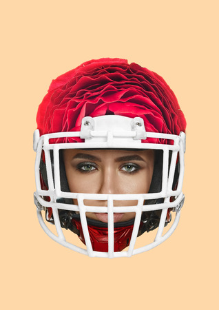 A tender safety and protection. Girls or young womans head in american football or sporty helmet formed blossoming red flower. Sport or nature concept. Modern design. Contemporary art collage. Imagens