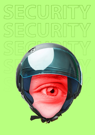 Another view of safety, protection and security of private property. Look of order. Black helmet with red male eye rounded in centre against green background. Modern design. Contemporary art collage. Stock Photo