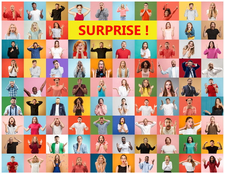 The collage of faces of surprised people on colored backgrounds. Happy men and women smiling. Human emotions, facial expression concept. collage of different human facial expressions, emotions, feelings Zdjęcie Seryjne - 120048019