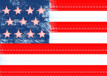 An alternative view of american national symbol. A flag of United States of America with the pink carambola on jeans background with red and white strips. Modern design. Contemporary art collage. Stock Photo - 120049292
