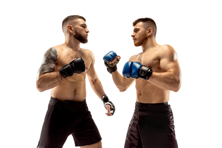 Quelques secondes avant la guerre. Deux combattants professionnels posant isolés sur fond de studio blanc. Couple d'athlètes ou de boxeurs caucasiens musclés en forme qui se battent. Concept de sport, de compétition et d'émotions humaines.